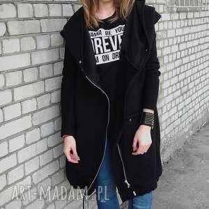 eleganckie bluzy bluza na suwak długa oversize czarna