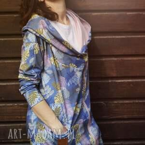 Długa bluza oversize w liscie i kwiaty ogromny kaptur, kolorowa S LATO