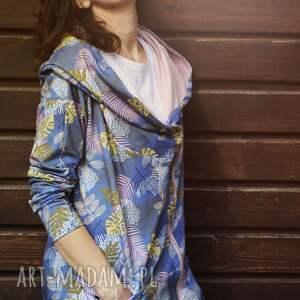 bluza dresowa bluzy turkusowe długa oversize w liście
