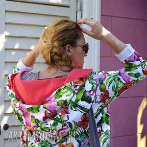 sportowa bluza bluzy długa oversize z motywem