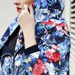 bluzy dresowa bluza długa oversize print wzor