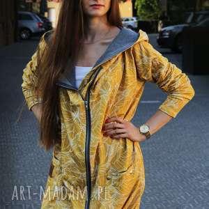 żółte bluzy bluza dresowa długa oversize z motywem