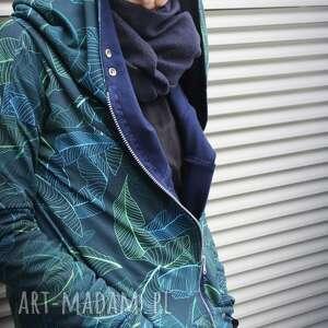 niebieskie bluzy bluza-z-kapturem długa bluza oversize z motywem