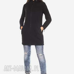 handmade bluzy zip długa czarna bluza damska