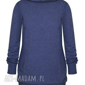 Ekoszale bluzy: długa dresowa bluza tunika damska z golfem, jeansowa z tubą, niebieska bawełna
