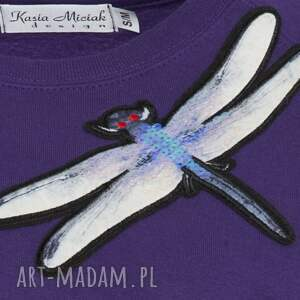 bluzy oversize fioletowa bluza z ważką