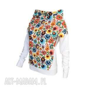awu bluzy: Folkowa bluza biała lub ecru - motyw łowicki