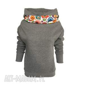 dresowa bluza bluzy folkowa z kominem i kapturem