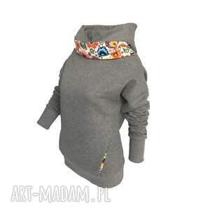 wyjątkowe bluzy folk folkowa bluza z kominem i kapturem