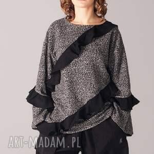 handmade bluzy falbanki gruba bluza pieprz z solą