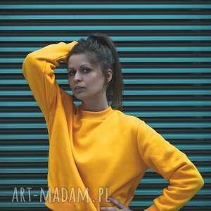 niebanalne bluzy żółta bluza dresowa w pięknym kanarkowym kolorze