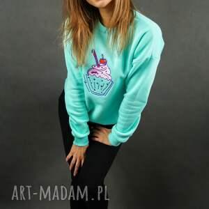 unikalne bluzy miętowa bluza dresowa z haftem