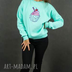 bluzy bluza z-haftem miętowa dresowa z haftem