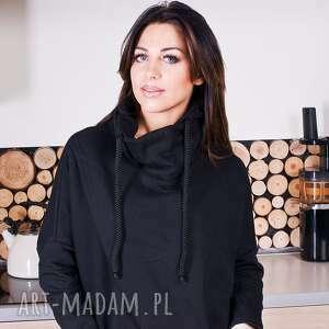 ręcznie zrobione bluzy bluza modna damska czarna asymetryczna