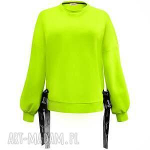 handmade bluzy neonowa bluza z dłuzszym