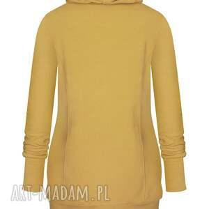 intrygujące bluzy dresowa piękna dłufa musztardowa bluzaq