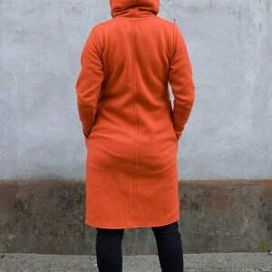 bluzy: Płaszcz Asmi z kapturem asymetryczny - dzianina