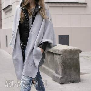 szare bluzy kieszenie tuba komin szal origami dress