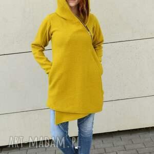 wyraziste bluzy asymetryczny sweter wełniana musztardowa bluza