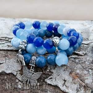 niebieskie bransoletki bransoletka a505 set srebrnych bransoletek