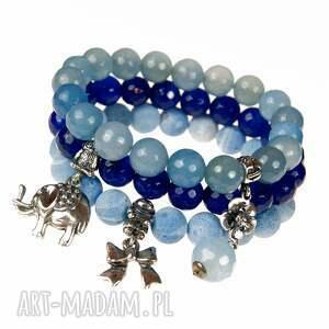 niebieskie bransoletki srebro a499 set srebrnych bransoletek
