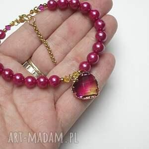hand made perły majorka alloys collection /heart fuksja /