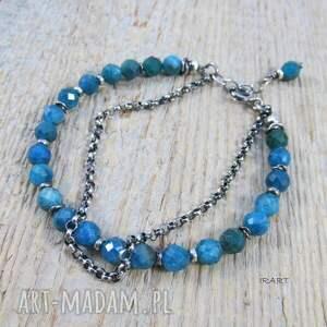niebieskie apatyt -bransoletka