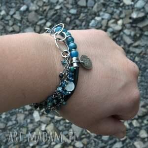 niebieskie bransoletki apatyt i rzemień - zestaw