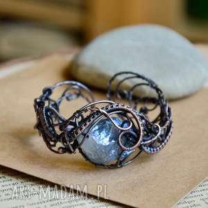 niepowtarzalne wire wrapping aura - bransoletka z kwarcem