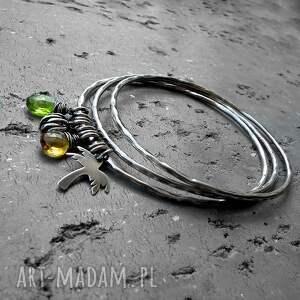 ręcznie zrobione bransoletki z-kamieniami bahama - 3 bransoletki- srebro