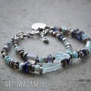 srebro bransoletki niebieskie bałaganka z akwamarynem i iolitem