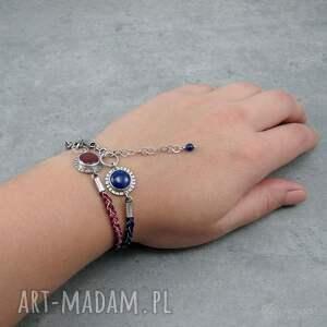 niebieskie boho barwne warkocze z lapisem lazuli