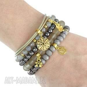 trendy bransoletki hematyt beige & steel