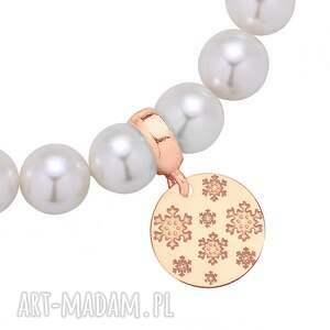 biała bransoletka z pereł swarovski® crystal ze śnieżynkami z różowego złota