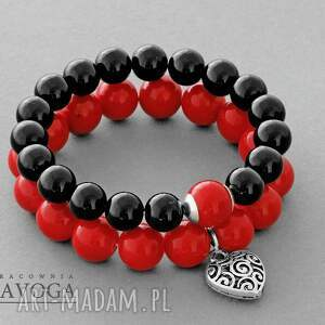 czarne bransoletki koralik black jade with red point