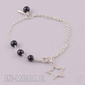 trendy bransoletki czarna black star, bransoletka z czarnych