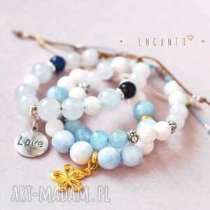 kamienie bransoletki niebieskie blue and white