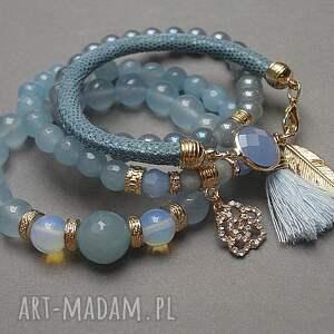 złote bransoletki jadeity blue /28 -06 -18/ set