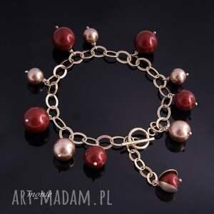 ręcznie robione bransoletki bordo bordo, bransoletka z pereł