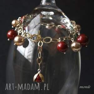 czerwone bransoletki bordo bordo, bransoletka z pereł