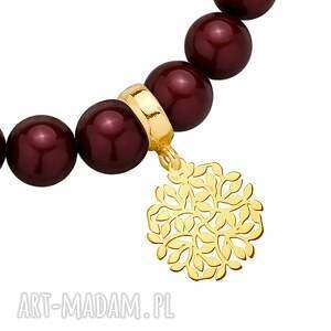 bransoletka bordowa z pereł