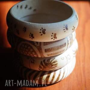 brązowe bransoletki etno bransoleta drewniana - abstrakcyjne