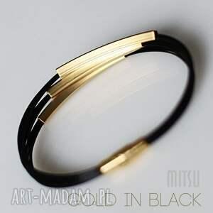 czarne bransoletki elegancka bransoleta gold in black