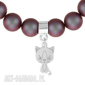 fioletowe bransoletki perła ♡ bransoleta na gumce silikonowej