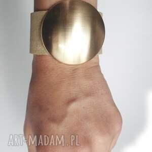 bransoletki skóra bransoleta skórzana złota tarcza