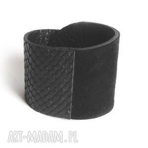 frapujące wężowa bransoleta skórzana czarna wrapped