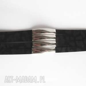 czarne panterka bransoleta skórzana czarna