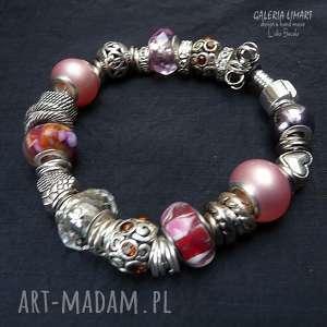 bransoletki efektowna bransoleta w odcieniach różu. mix