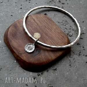 ciekawe srebrna bransoleta z monetką - srebro