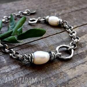 srebro bransoleta z perłami - masywna